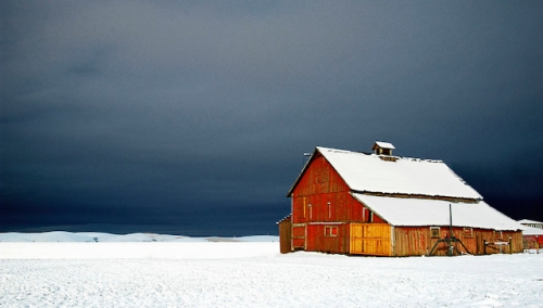 Dark Sky Looms over Barn by Gary Hamburgh - All Rights Reserved