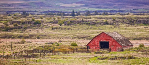 Old Red Barn and Corral by Gary Hamburgh - All Rights Reserved