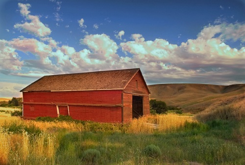 Clouds behind Red Barn by Gary Hamburgh - All Rights Reserved