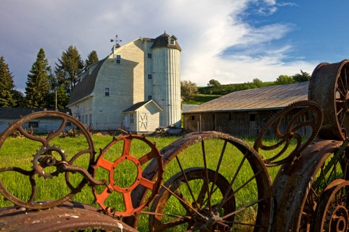 Dahmen Barn with Wheel Fence by Gary Hamburgh - All Rights Reserved