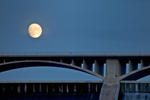 Moon over Grand Coulee Dam by Gary Hamburgh _ All Rights Reserved