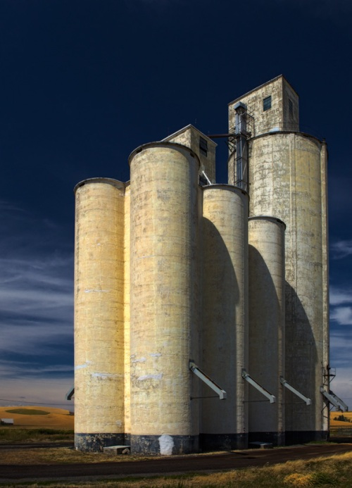 Grain Elevator Fills the Sky - Copyright Gary Hamburgh - All  Rights Reserved