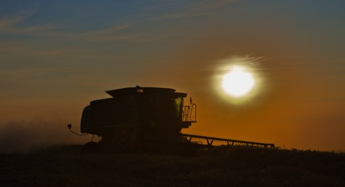 Combine Silhouette at Sunset - Copyright Gary Hamburgh 2009 - All Rights Reserved